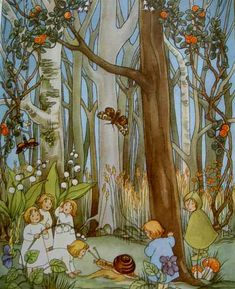 Some of the root children - illustration Fantasy Kunst, Fantasy Art, Art And Illustration, Beatrix Potter, Elsa Beskow, Magical Tree, Flower Fairies, Vintage Art, Illustrators