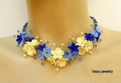 Blue - Blue necklace - Flower necklace - Orchid - Handmade polymer jewelry