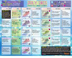 This month's workouts. 5th Blogilates calendar so far :)   july 2013 workout calendar