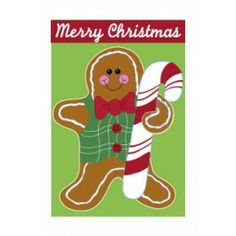 """Flags A' Flying """"Gingerbread Man"""" Applique Seasonal Banner; Polyester 28""""x44"""" - Christmas"""