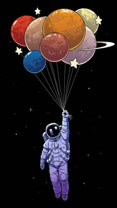 wallpaper for iphone Illustration Astronaut Cartoon Graphic design Balloon Art How The Medieval E Art And Illustration, Iphone Wallpaper Illustration, Illustration Design Graphique, Iphone Wallpaper Drawing, Cartoon Wallpaper, Iphone Drawing, Astronaut Illustration, Balloon Illustration, Watercolor Illustration