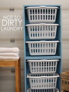 Turn regular plastic storage bins into laundry room storage units and portable clothes baskets. When clothes are clean, folded and in their proper bin, simply slide out the container and unload fresh laundry in its designated room.