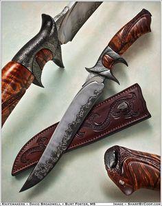curly koa | damascus steel | laminated blade | Broadwell Studios