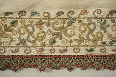 closeup of 16th century italian shirt embroidery.