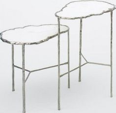 Christian Liagre Carrara marble and white gold plated bronze 'cloud' tables.  *sigh*