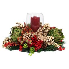 Faux Hydrangea and Artichoke Centerpiece at Joss and Main Holiday Centerpieces, Candle Centerpieces, Holiday Tablescape, Faux Flowers, Silk Flowers, Hydrangea, Christmas Wreaths, Christmas Decorations, Holiday Decorating