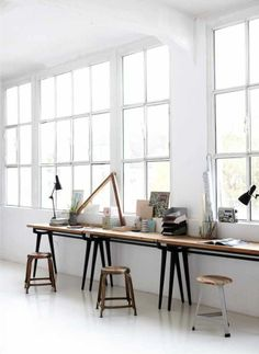 Studio with big windows