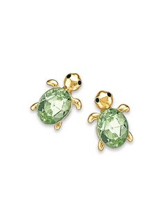 Beautiful Jewelry Main Cute As Can Be Turtle Earrings - Darling turtles shine with peridot crystals and black enamel eyes. Turtle Jewelry, Turtle Earrings, Stud Earrings, Peridot Earrings, Kids Earrings, Chandelier Earrings, Jewelry Box, Jewelry Accessories, Women Jewelry