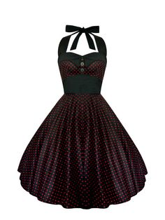 Rockabilly Dress PinUp Dress Black Polka Dot Dress Plus Size Dress Vintage 50s Retro Dress Gothic Dress Steampunk Swing Halloween Prom Party