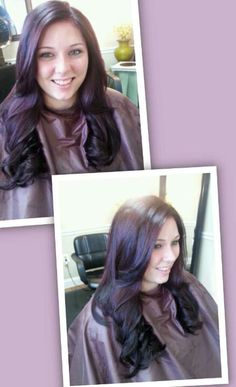 #Purple #hair #color. #Beautiful blow dry #style.