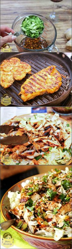 A step-by-step pictures Grilled Ginger-Sesame Chicken Salad recipe| The salad was easy to make, FULL of HUGE flavors, and very little fat. #pioneersettler