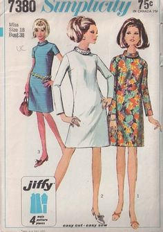 MOMSPatterns Vintage Sewing Patterns - Simplicity 7380 Vintage 60's Sewing Pattern KILLER Mod Space Age Sequin Trim Roll Collar Dart Fitted Jiffy Party Dress