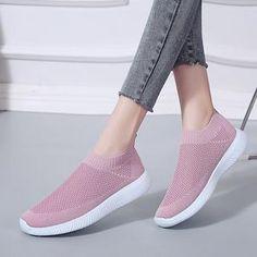 Lucyever Women Spring Summer Sneaker Knitted Mesh Vulcanized Shoes Casual Slip on Flat Soft Walking Footwear Zapatos De Mujer Platform Sneakers, Slip On Sneakers, Casual Sneakers, Casual Shoes, Sneakers Women, Women's Casual, Shoes Style, Zapatos Slip On, Baskets
