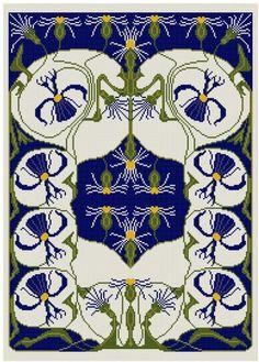 Eine Anpassung von einem frühen 1900er Jahre deutscher Kalender. Dies kennzeichnet die Astern in blau, weiß und gelb Kanarischen. Ändern des