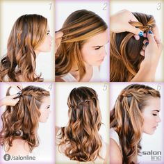 Cute hairstyles, party hairstyles, braided hairstyles, braiding your own ha Party Hairstyles, Messy Hairstyles, Straight Hairstyles, Amazing Hairstyles, Hairstyles 2018, Unique Hairstyles, Latest Hairstyles, Waterfall Hairstyle, Braiding Your Own Hair