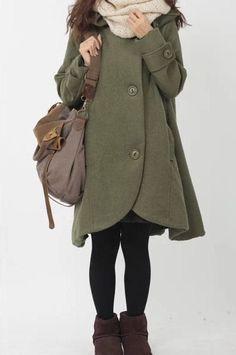 2- color Wool Coat in Winter Outerwear breasted overcoat  woollen coat  Hooded Jacket Blazer for woman  C262