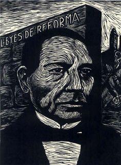 Juárez y la Reforma.  Taller de la Gráfica Popular, grabado, impresión en papel, Fondo Gráficos, Archivo Gráfico de El Nacional, INEHRM.