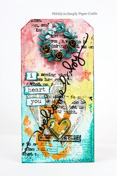Meihsia Liu Simply Paper Crafts Mixed Media tag Welcome Baby Simon Says Stamp  Monday Challenge