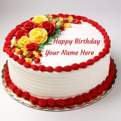 Write Name on Happy Birthday Rose Cake For Love.Your Name on Lovely White Cake With Rose Decoration.Happy Birthday Wishes To Dear Wife With Your Name Greetings Red Birthday Cakes, Birthday Cake Write Name, Online Birthday Cake, Birthday Cake Writing, Birthday Wishes Cake, Cake Name, Birthday Wishes With Name, Pink Birthday, Birthday Cards