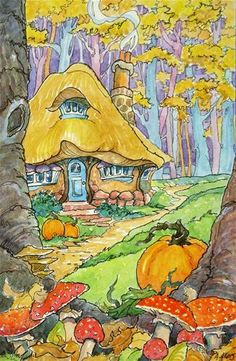 """In the Golden Woods Storybook Cottage Series"" - Original Fine Art for Sale - © Alida Akers"