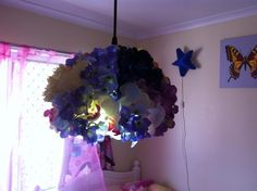 silk flower light Flower Lights, Dim Lighting, Silk Flowers, Doilies, Diy, Bricolage, Do It Yourself, Homemade, Diys