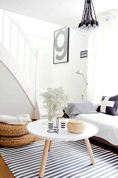 Black and white Scandinavian-inspired living room