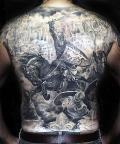 Knight Riding Horse Back Tattoo For Males