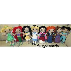 Disney Princess Amigurumi Crochet Doll Tinker Bell Ariel Pocahontas Alice Mulan Merida Meg/Megara Jasmine Handmade on Etsy, $43.99