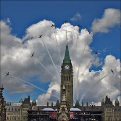 CANADA DAY by ViaMoi. World Famous Snowbirds doing a bloom behind the Parliament buildings in Ottawa, Canada during Canada Day celebrations. Canada Eh, Visit Canada, Ottawa Canada, Ottawa Ontario, Backpacking Canada, Canada Travel, Canadian History, Canadian Culture