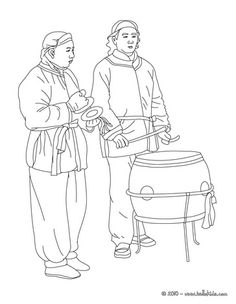 Chinese parade percussionists coloring page