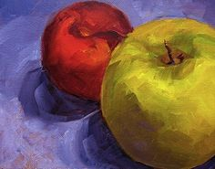 "images of apple painting | Apple and Plum, ""Still Life Fruit Painting"" Kitchen Art by Marina ..."