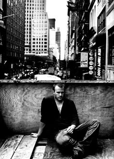 Heath freaked when i showed him early publivity pics that Roy Schstt had taken of me. Roy did those legendsry James Dean photos. Here is Heath doing the NYC James Dean pensive actor. Heath was brilliant at acting for the photo, but i like thr candids that cstch him being himself. NY is a bad scene. I wish he had chosen Los Angeles. LA may be fake , but i think he'd still be alive.