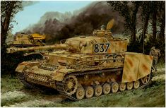 Panzer IV Ausf. H, number 837, 12th SS-Leibstandarte Adolf Hitler with Zimmerit facing a Sherman in Norman bocage.