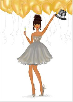 New Year Toast Holiday Card - toast to an AWESOME New Year with this festive illustration featuring a fashionista in a shimmering party dress and hat accented with glitter and metallic accents.