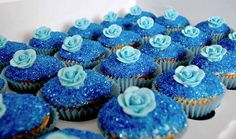 Blue rose glitter and blue butterfly wedding cupcakes Sparkle Cupcakes, Blue Cupcakes, Mini Cupcakes, Elegant Cupcakes, Heart Cupcakes, Butterfly Cupcakes, Blue Butterfly, Cupcake In A Cup, Cupcake Cookies