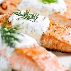 Salmon with Creamy Dill Sauce Salmon with Creamy Dill Sauce Recipe on BigOven: There's nothing like fresh salmon, and my mom bakes it just right so it nearly melts in your mouth. The sour cream sauce is subtly seasoned with dill and horseradish so that it Salmon With Creamy Dill Sauce Recipe, Cucumber Dill Sauce, Dill Sauce For Salmon, Dill Salmon, Grilled Salmon, Salmon Fillets, Salmon With Cream Sauce, Sauce Recipes, Recipes