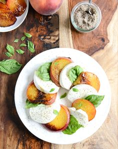 caramelized peach caprese with smoked sea salt I howsweeteats.com