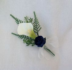 buttonholes with calla lilies and roses purple & ivory - Google Search