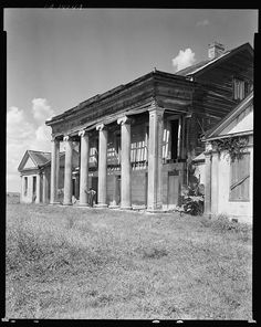 Woodlawn Plantation, near Napoleonville, Louisiana, built photographed 1938 Old Southern Plantations, Southern Plantation Homes, Louisiana Plantations, Southern Mansions, Southern Homes, Plantation Houses, Southern Comfort, Old Abandoned Buildings, Abandoned Places