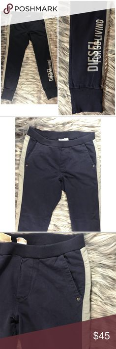 """Diesel Skinny Joggers Sweatpants sz Large Diesel Skinny Joggers Sweatpants in size XL but run small and would fit Large.  Navy blue with grey details.  Waist 16"""" Rise 11"""" Inseam 31"""" Excellent condition. B102 Diesel Pants Sweatpants & Joggers"""