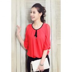 $10.09 Elegant Scoop Neck Bow Puff Sleeve Chiffon Blouse For Women
