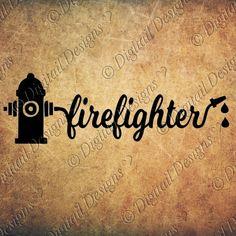 Firefighter Hose wordart svg, png, dxf, ai, fcm, eps Cut File for Silhouette or Cricut. Fireman wordart