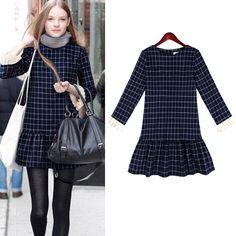 Fashion Women Clothes Grid Print Women Cotton One-piece Dresses Long Sleeve Plus Size XL-5XL Casual Dress Vestidos Femininos