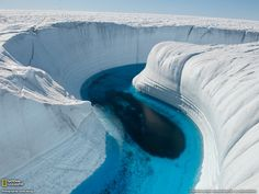 Meltwater creates a canyon in the Greenland icepack