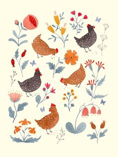 Artwork by Julianna Swaney — Chicken Garden ◆ An archival giclée print of an original watercolor painting. ◆ Printed on rich and weighty lightly textured paper that picks up all the subtle. Chicken Drawing, Chicken Painting, Chicken Art, Chicken Illustration, Garden Illustration, Chicken Images, Chicken Garden, Guache, Cute Art