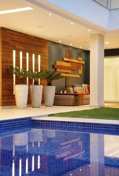 Be inspired by our selection of swimming pool designs and ideas. Learn more about the different types of pools available and create the perfect pool today. Design Exterior, Interior And Exterior, Outdoor Spaces, Outdoor Living, Outdoor Decor, Piscina Interior, Casa Clean, Light In, Pool Designs