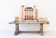 Bead board donut wall with pegs for double layer of donut goodness. Donut holes and filled donuts on the table