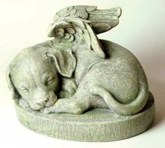 Puppy Pet Stone. A winged statue will help one recall fond memories of a loyal companion.