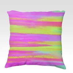 DISCO FEVER  Neon Pink Green Decorative Velveteen Throw Pillow Cover, Stylish Bold Hot Pink Lime Green Stripes Decorative Home Decor Colorful Fine Art Toss Cushion, Modern Bedroom Bedding Dorm Room Living Room Style Accessories by EbiEmporium, $75.00