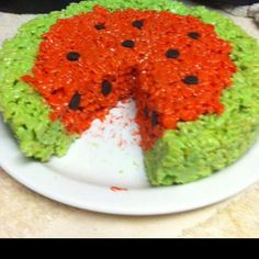 Watermelon rice crispy treat